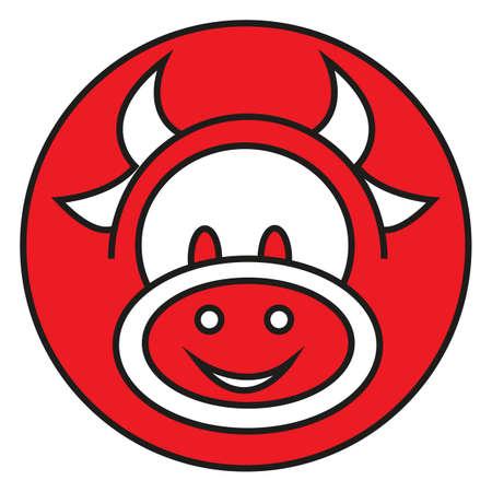 Simple flat color cow icon vector