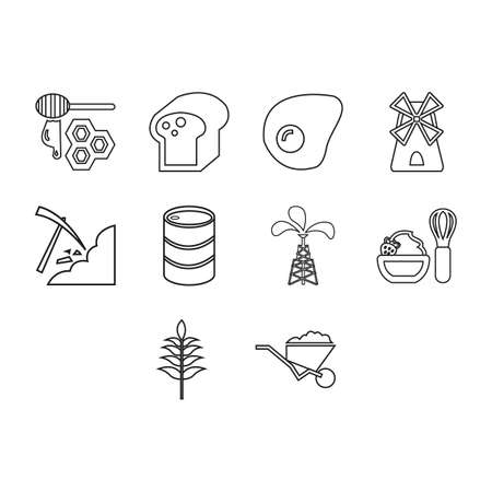 collection of commodities icon set Illustration