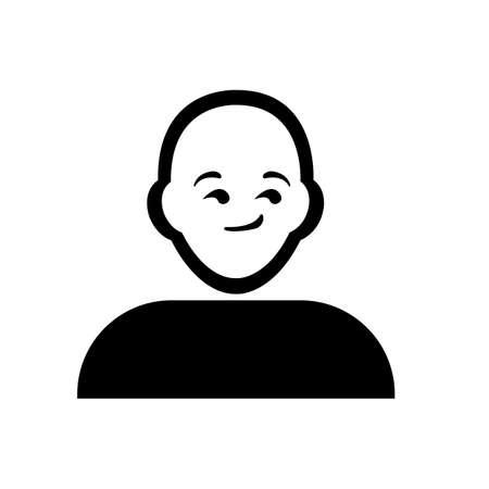 contemplate: Flat black thinking emoticon icon vector