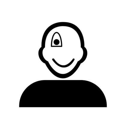 eyed: Flat black one eyed emoticon icon vector Illustration