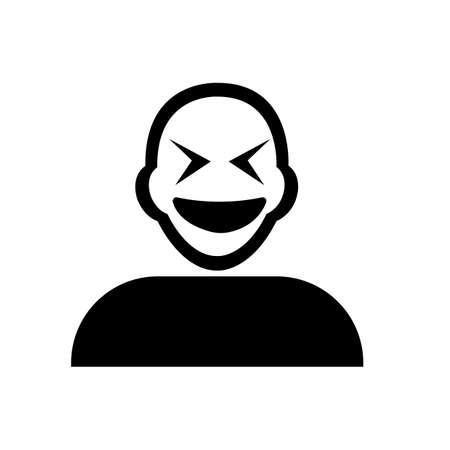 grumpy: Flat black grumpy emoticon icon vector