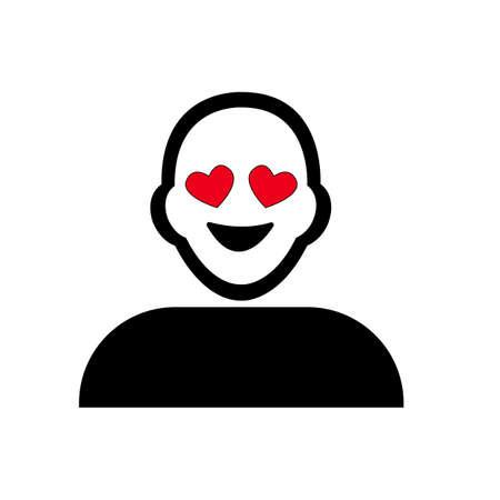 struck: Flat black love struck emoticon icon vector Illustration