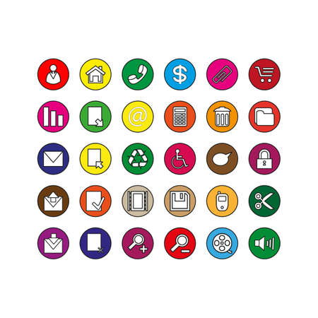 collection of buttons icon vector