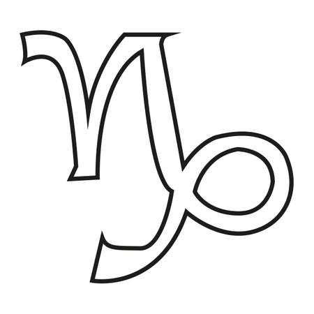 capricornio: Simple línea fina signo capricornio icono vector Vectores