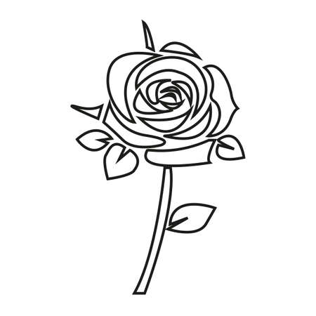 Simple thin line rose  icon vector Stock Vector - 75204925