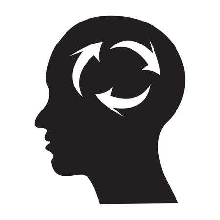contemplate: Simple flat black brain icon vector