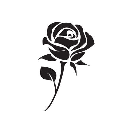 Simple flat black rose icon vector Illustration