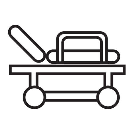 Simple thin line medical bed icon vector