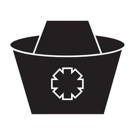 Simple flat black nurse hat icon vector