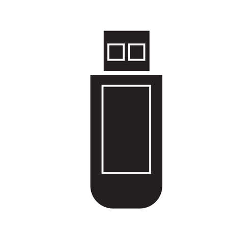 Simple flat black flashdisk icon vector