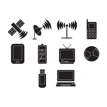 Collection of technology icon vector Illustration