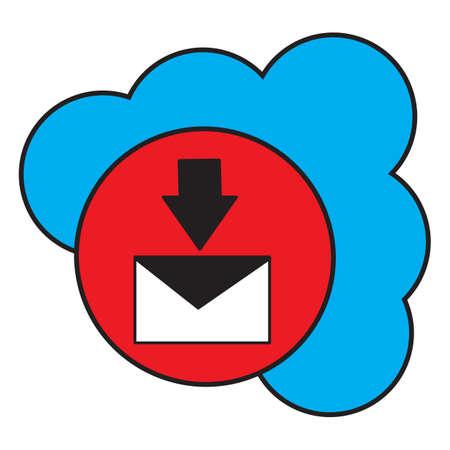 Simple flat color cloud inbox messages icon vector