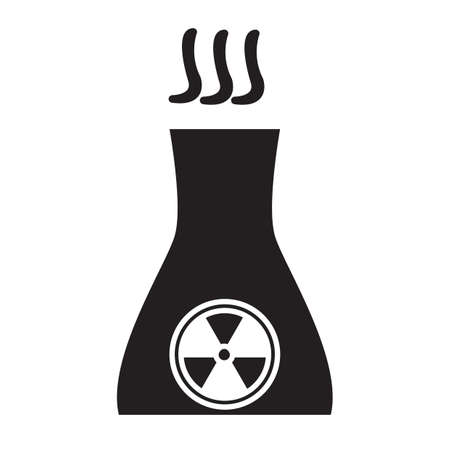 reactor: Simple flat black nuclear reactor icon vector