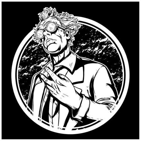 High detailed mad scientist illustration vector Иллюстрация