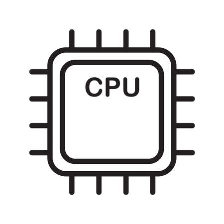 Simple thin line cpu icon vector
