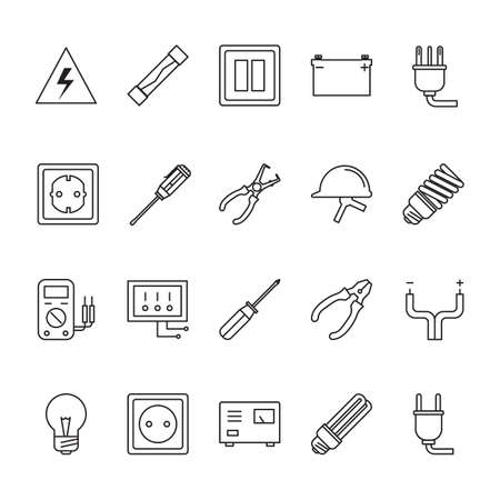 Collection of electrical icon vector