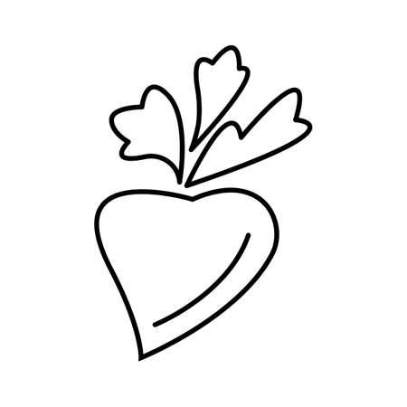 Simple thin line radish icon vector