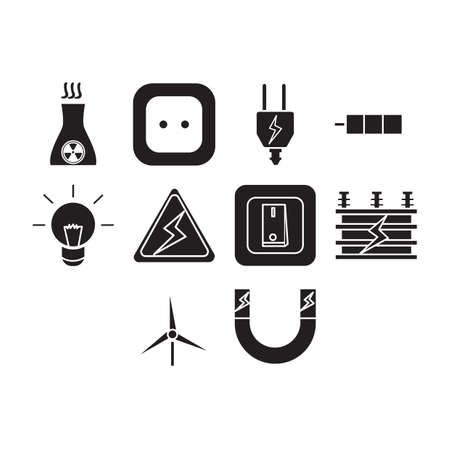 Collection of electric icon vector