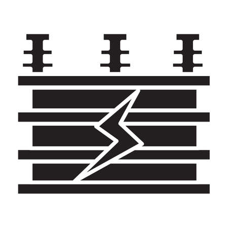 Simple flat black electrical transformer icon vector Illustration