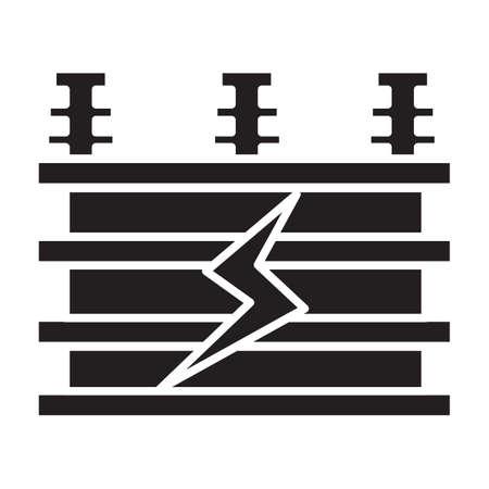 Vecteur d'icône simple transformateur électrique plat noir Banque d'images - 82181267