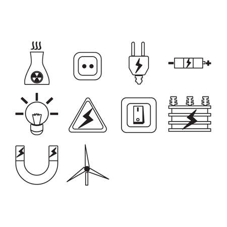 Collection of electric icon vector illustration.