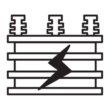 Illustration vectorielle simple de l'icône du transformateur électrique en ligne mince. Banque d'images - 82181120