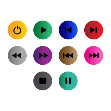 Collection of button icon vector Illustration