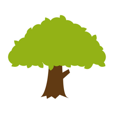 Simple flat color banyan tree icon vector