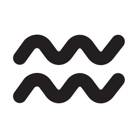 Simple flat black aquarius sign icon vector