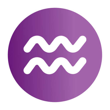 Simple flat color aquarius sign icon vector