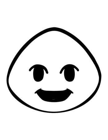 Simple thin line grin face icon vector Çizim