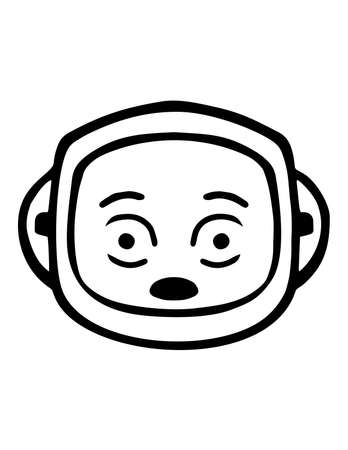 Simple thin line shocked face icon vector