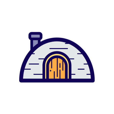 Simple flat color igloo icon vector