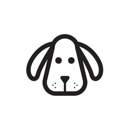 シンプルな細い線の犬頭のアイコン ベクトル