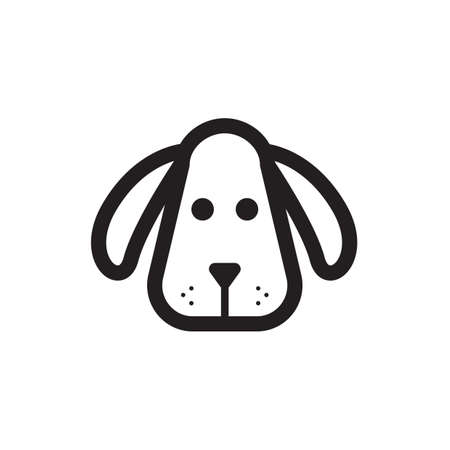 Simple thin line dog head icon vector Ilustracja