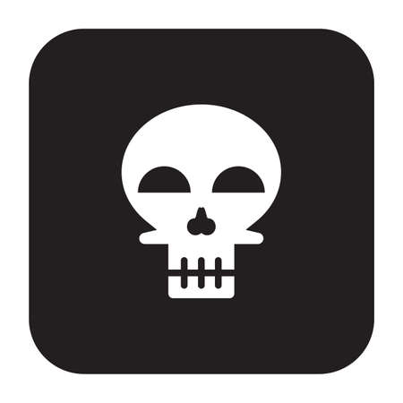 Simple flat color skull icon Vector illustration.