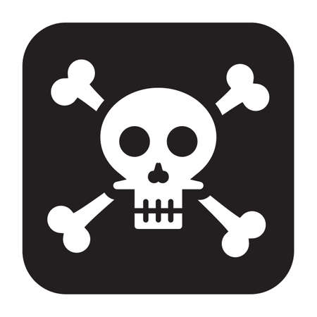 Simple flat color skull icon vector