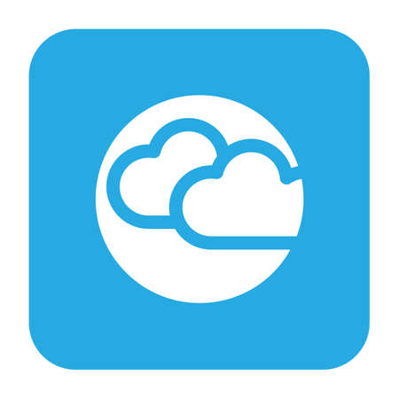 Simple thin line cloudy icon vector illustration. Çizim