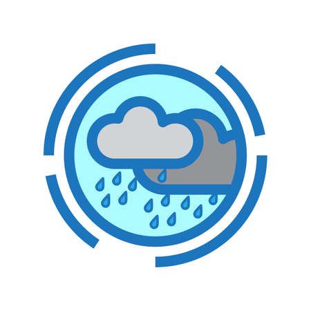 Simple flat color rainy icon vector illustration. Çizim