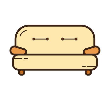 Simple flat color sofa icon vector