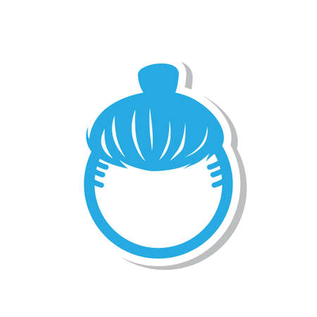 Simple flat color hairstyle icon vector