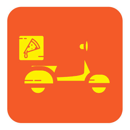 Simple flat color delivery pizza icon vector