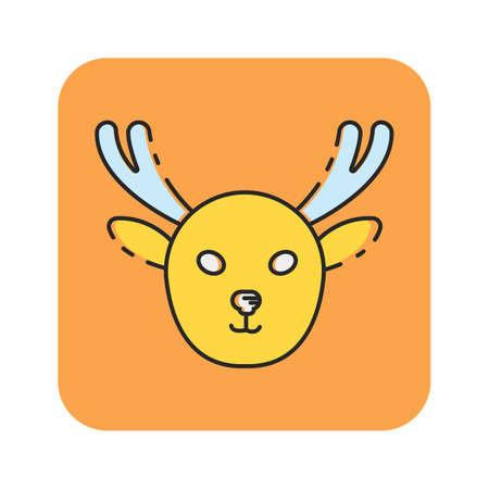 Simple flat color moose icon vector