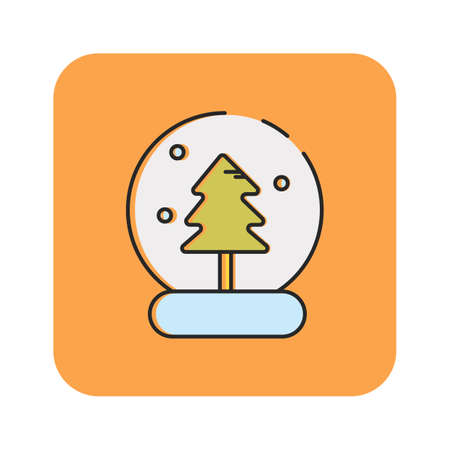 Simple flat color snow globe icon vector