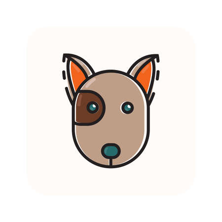 Simple flat color dog head icon vector