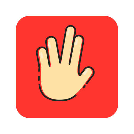 Simple flat color hand icon vector Illustration