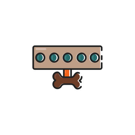 Simple flat color dog leash icon vector