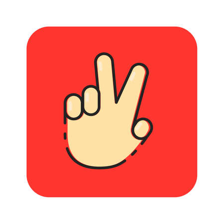 Simple flat color finger hand icon vector