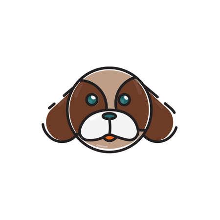 Simple flat color dog head icon vector
