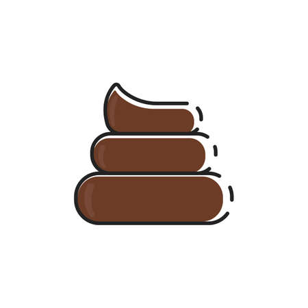 Simple flat color dog poop icon vector